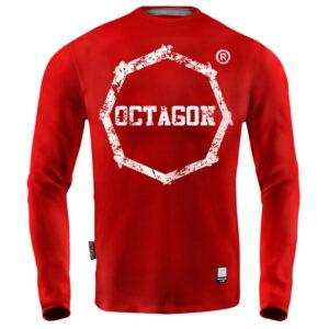 'Men''s Long Sleeve Octagon Logo Smash red'