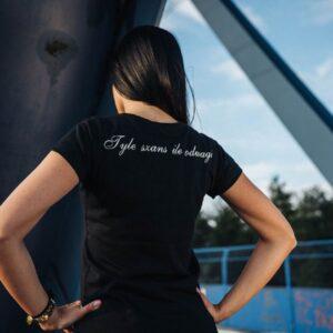 "'Woman''s T-Shirt Octagon LOGO ""TYLE SZANS ILE ODWAGI"" Black'"