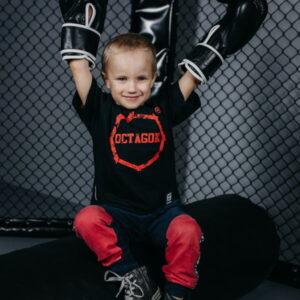 Kids T-shirt Octagon Logo Smash Black logo Red